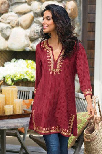 Kashmir Tunic I - Striped Tunic, Red Tunic Top, Sequin Tunic .