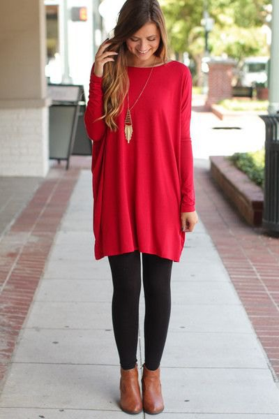 How to Style Red Tunic: 15 Eye Catching & Beautiful Outfit Ideas .