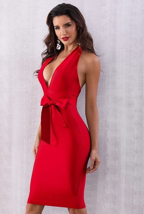 Red Deep V Neck bodycon dress parties – Fashion Ideas Kit | Cute .