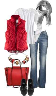 45 Best Red vest images | Red vest, Autumn fashion, Fall outfi