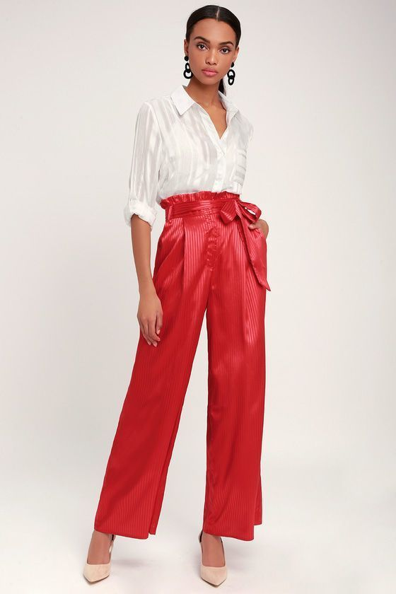 HAUTE TO TROT RED STRIPED SATIN WIDE-LEG PANTS | Wide leg pants .
