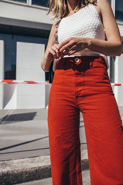 pants, tumblr, orange, wide-leg pants, top, white top, flare pants .