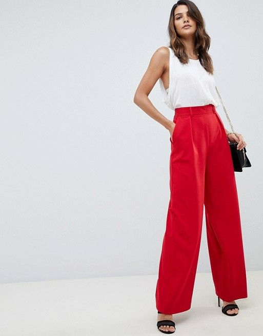ASOS DESIGN wide leg pants with pleat detail | Red wide leg pants .