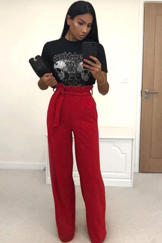 Red Paper Bag Tie Waist Wide Leg Trousers #Fashion #Trends #Style .
