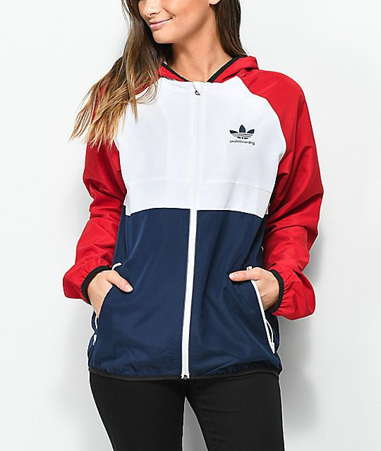 adidas MI Skate Red, White & Blue Windbreaker Jacket | Adidas .