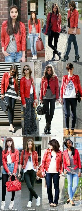 How to wear a red leather jacket. | Red leather jacket outfit, Red .