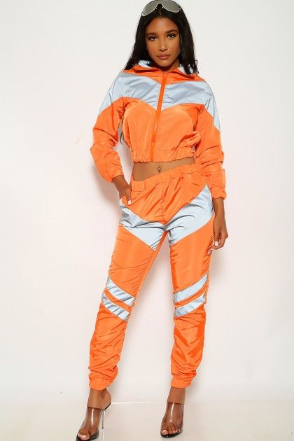 Orange Grey Reflective Windbreaker Two Piece Outfit #Affiliate .