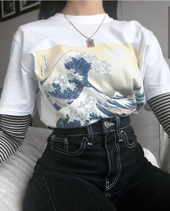 Great Wave Off Kanagawa Shirt, Japanese Wave T-shirt, Grunge .