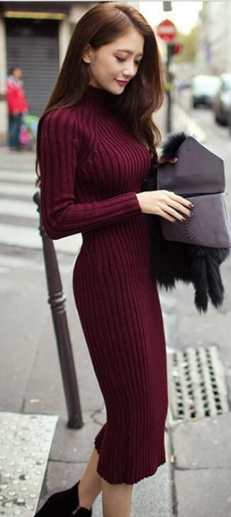 Bordeaux Sweaterdress. | Ribbed dress outfit, Long knit sweater .
