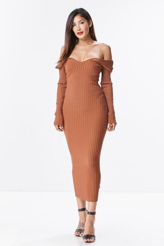 THE MYSTYLEMODE RUST KNIT RIBBED OFF THE SHOULDER MIDI DRE