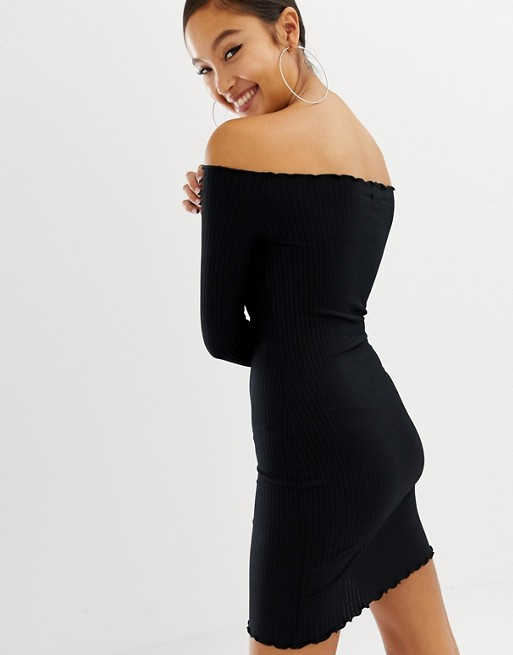 COLLUSION ribbed off shoulder mini dress | AS