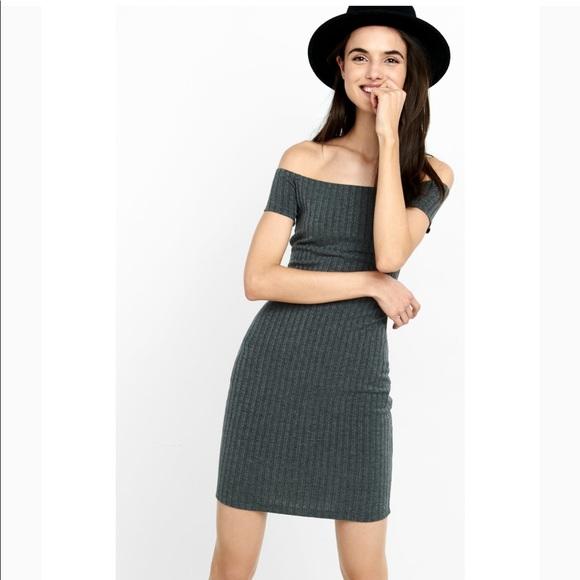 Express Dresses | Gray Ribbed Off The Shoulder Dress Medium | Poshma