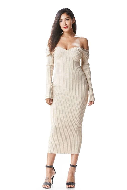 the mystylemode taupe knit ribbed off the shoulder midi dre