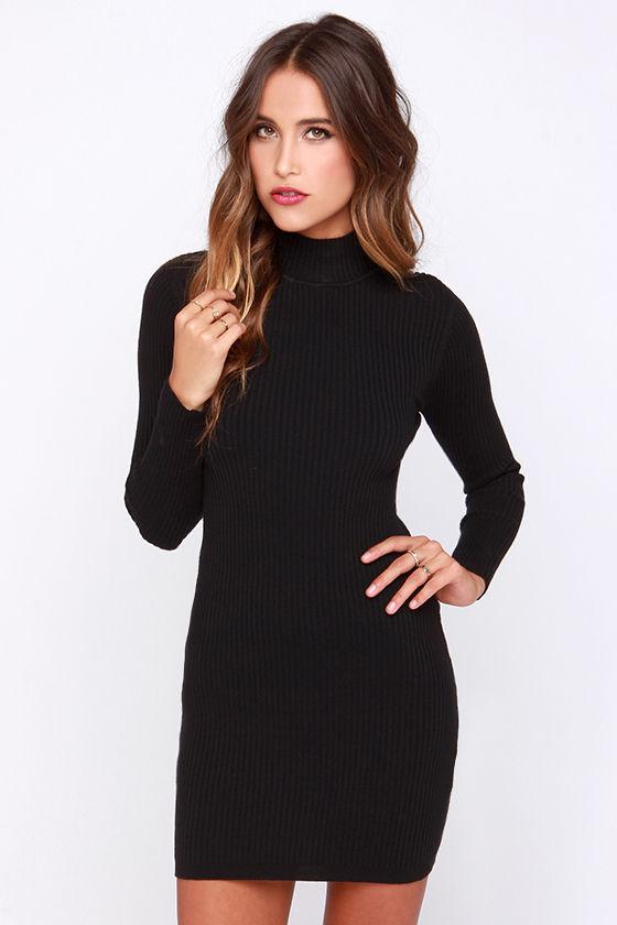 Mink Pink Ribbed Skivvy - LBD - Bodycon Dress - Sweater Dress - $63.
