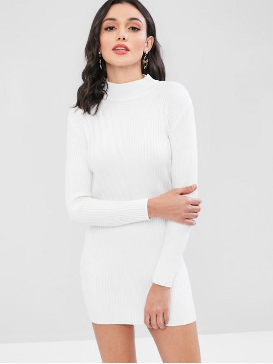 29% OFF] 2020 Ribbed Mock Neck Sweater Dress In WHITE | ZAF