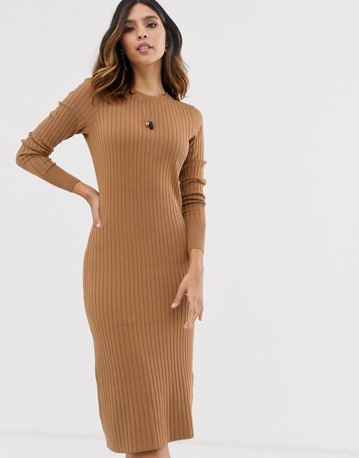 Vero Moda ribbed midi sweater dress in tan | AS