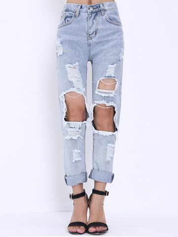 Extreme Ripped Mom Jeans   Ripped mom jeans, Mom jeans outfit .