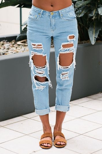 Jana ripped mom jeans - Light Blue | Ripped mom jeans, Diy ripped .