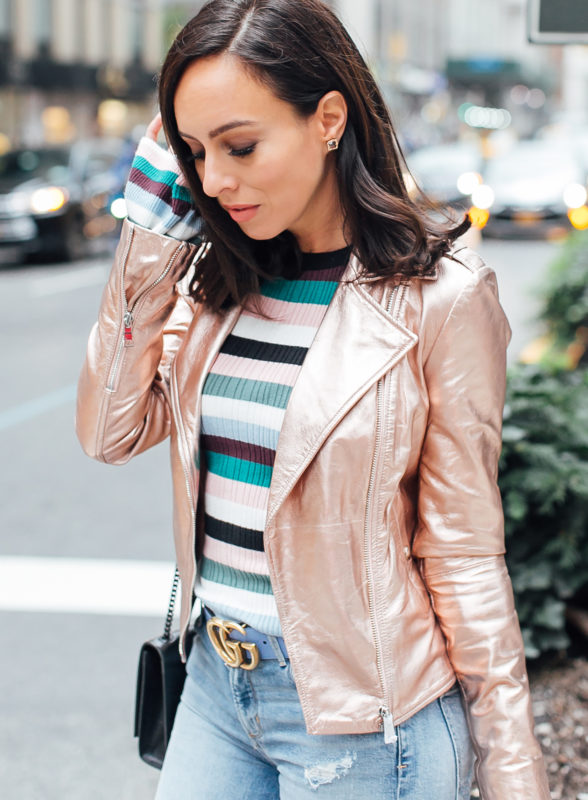 Sydne Style wears marciano rose gold leather jacket for fall .
