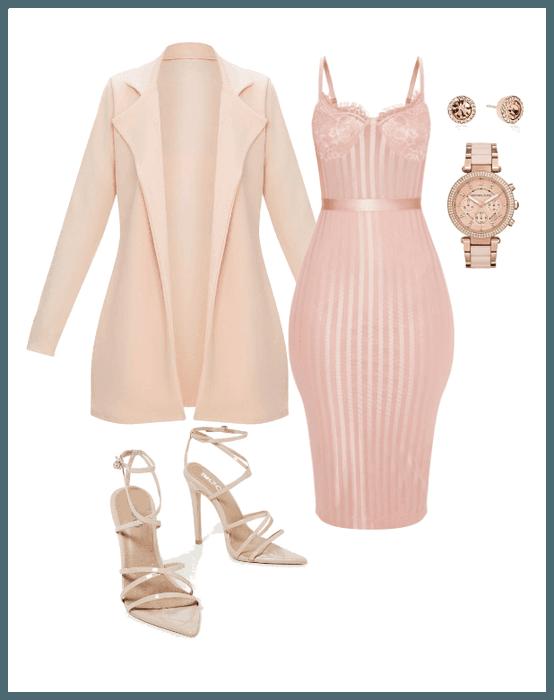 Rose Gold #rosegold #dress #pinkjacket #pinkdress #jacket #coat .