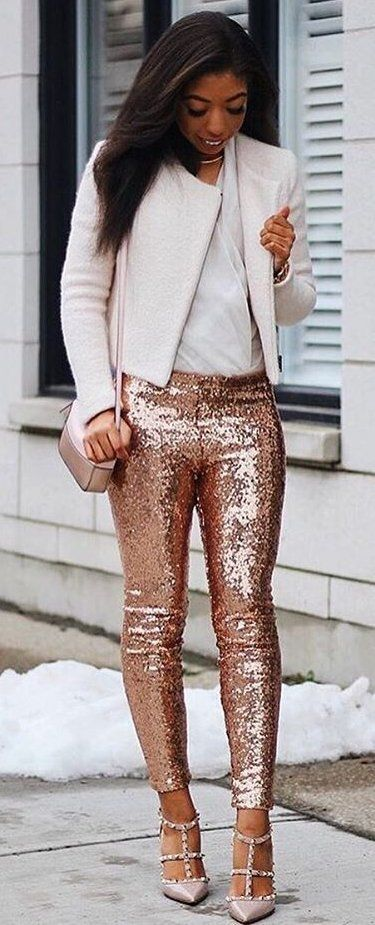 40 Outfit Ideas To Copy This Winter Season: Sequins Skinny Pants + .