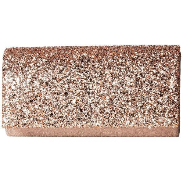 Jessica McClintock Chloe Glitter Flap Clutch (Rose Gold) found on .