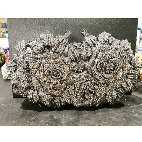Luxury Women's Clutch/Evening Bags With Gift Box - Gold,Silver .