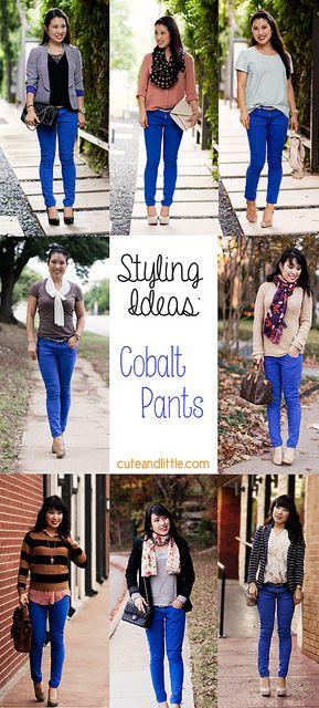 Styling Inspiration: Cobalt Blue Pants | Blue pants outfit, Cobalt .