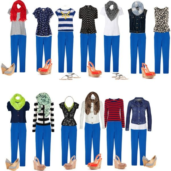 What to Wear with Bright Blue Pants / Capsule ... | Bright blue .