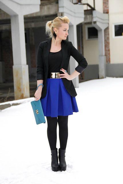 KOBALTOWA SPÓDNICA | Blue skirt outfits, Fashion, Royal blue skir