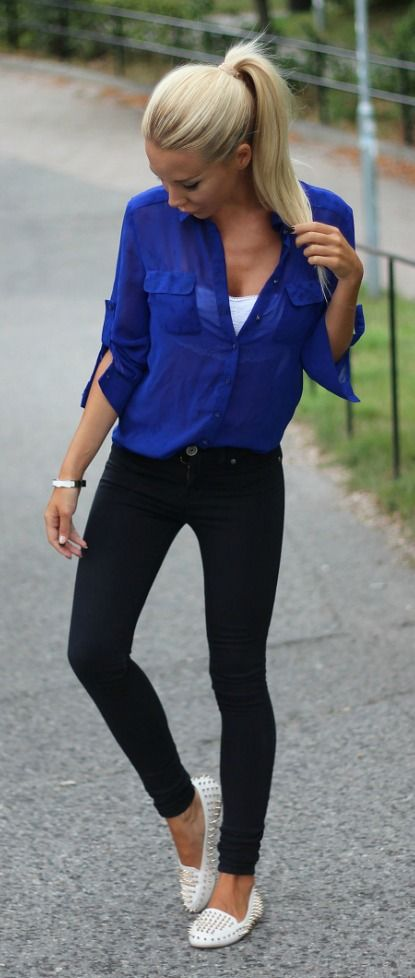 I love the look of a blouse over skinny jeans! It's a great .