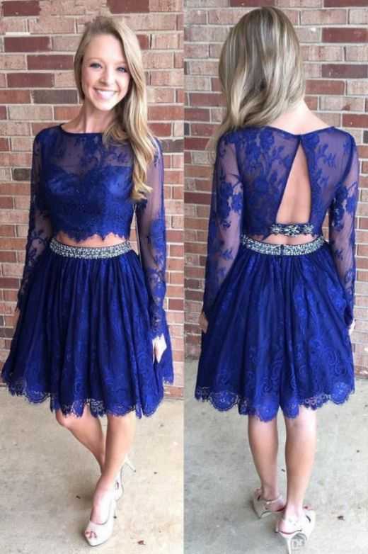Long Sleeve Homecoming Dresses, Royal Blue Long Sleeve Prom .