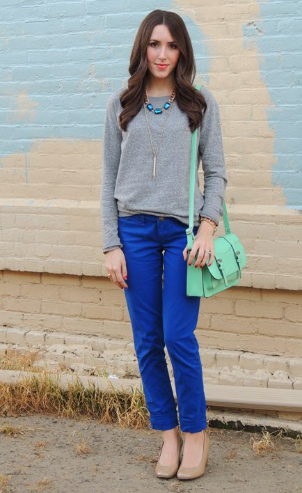 Fall/ winter outfit ideas. Grey sweater. Cobalt blue pants .