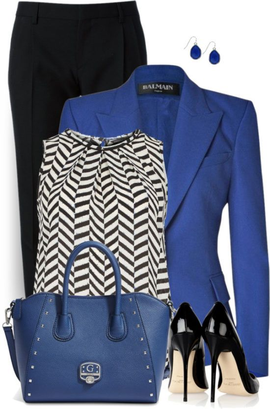 Royal Blue Blazer Work Outfit Style | Fashion, Work fashion, Royal .