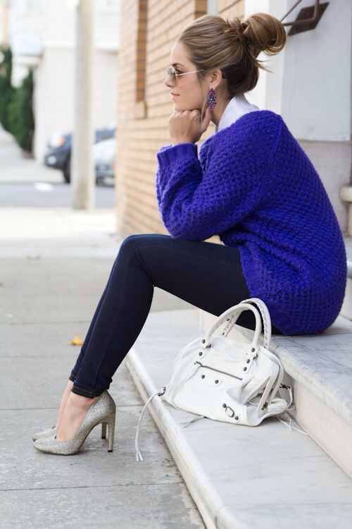royal blue sweater for fall | Blue sweater outfit, Fashion, Sty