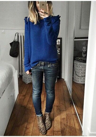 Such a beautiful colour sweater. | Print boots outfit, Sty
