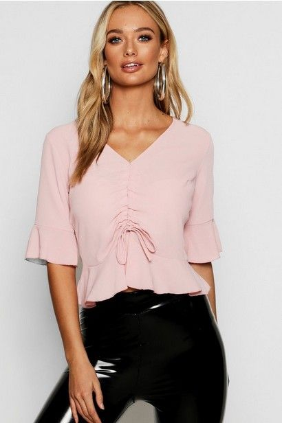 I love ruched tops they are so cute! Ruched Front Ruffle Sleeve .