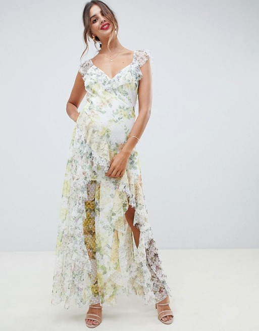 ASOS DESIGN ruffle maxi dress in floral dobby mesh with lace | AS