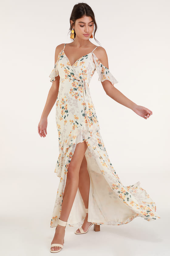 Lovely Cream Floral Print Dress - Ruffled Maxi Dress - Maxi Dre
