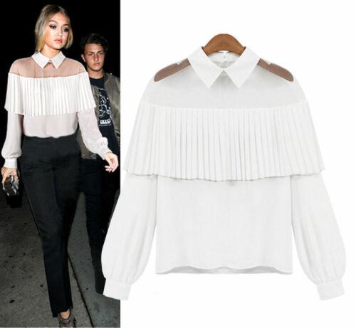 Fashion white blouse Women Lady peter pan collar Shirt Frilly .