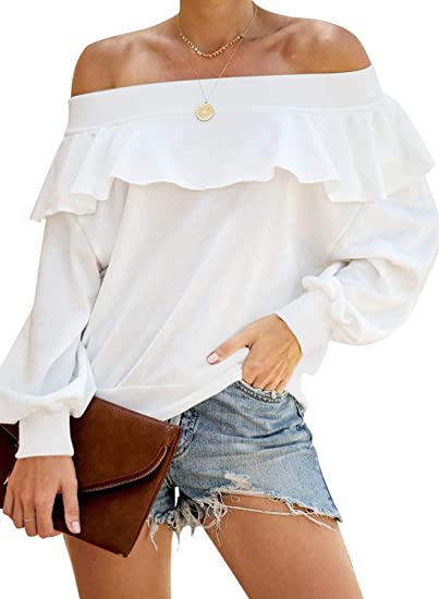 MIHOLL Women's Off Shoulder Ruffle Tops Casual Long Sleeve .