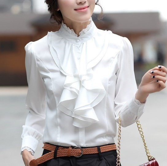Women Pink White Silver Tops Blouses Long Sleeve Womens Work .