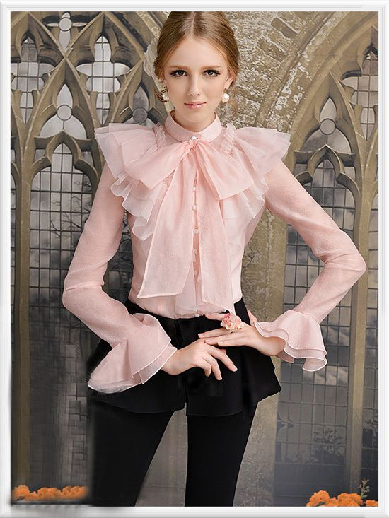 Morpheus Boutique - Pink Flare Sleeve Bow Layer Hemline Ruffle .