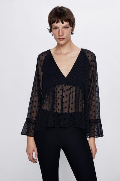 Combination polka dot blouse in 2020 | Polka dot blouse, Blouse, V .