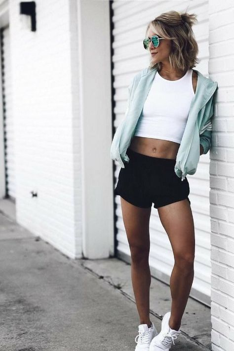 cropped white workout tank + black running shorts + seafoam green .