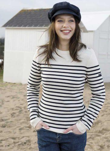 Women's Wool Striped Breton Jumper, Navy Blue/Cream Fine Knit .