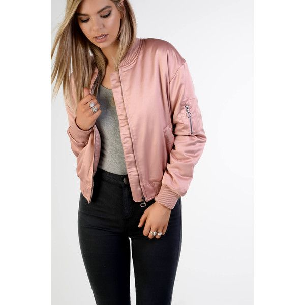 Rose Satin Bomber Jacket ($71) ❤ liked on Polyvore featuring .