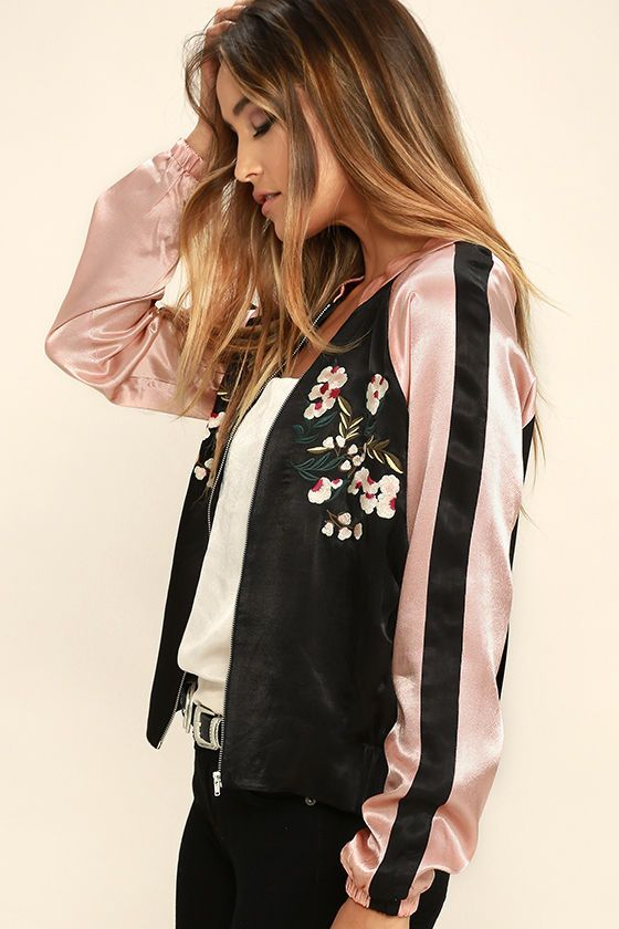 Girl Squad Pink and Black Embroidered Satin Bomber Jacket | Black .
