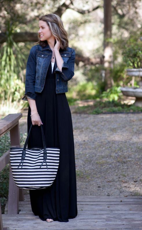 Daily denim jacket outfit ideas for women girl | Black dress .