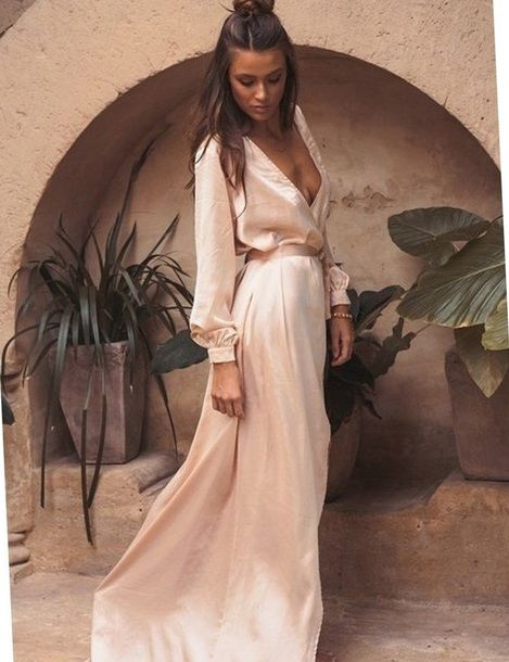 Champagne Long Sleeve Satin Belt Detail Maxi Dress | Guest dress